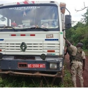 One Of The Guinean Vehicles Arrested Whilst Smuggling Timber Logs