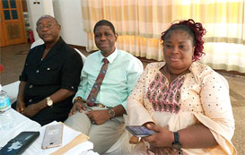 Dr. Ibrahim Seaga Shaw, RAIC CIC (centre) and Mary Karimu Com East and Hon Mustapha Braima Exe Secretary